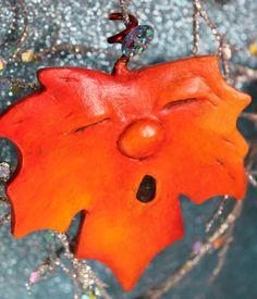OOAK Red orange Paper Clay Maple Leaf by bzlittlechristmaself