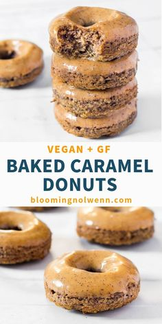 These Caramel Baked Vegan Donuts are glazed with an easy vegan date caramel sauce and are delicious. They are Vegan, Gluten-Free, Oil-Free and Refined Sugar-Free as they are only sweetened with dates. Perfect for a delicious and healthy dessert. Vegan Gluten Free Desserts, Vegan Sweets, Healthy Dessert Recipes, Gourmet Recipes, Dinner Recipes, Paleo, Gluten Free Vegan Donut Recipe, Recipes With Dates Healthy, Vegan Recipes