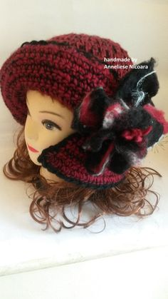 Crochet Winter Hat with Brim and felted by AnnesMagicCrochet