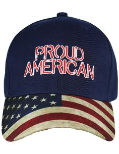 e796251f19f29 Proud American Baseball Cap - Embroidered Flag Hat w  Adjustable Back Strap