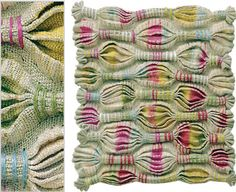 Inge Dusi, born in Germany, based in Chile, has used the 'amarra' textile technique: originally used in Pre-Colombian textiles & internationally recognized now as Shibori. Textile Texture, Textile Fiber Art, Weaving Textiles, Textile Fabrics, Fabric Weaving, Woven Fabric, Textiles Techniques, Weaving Techniques, Loom Weaving