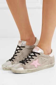 Golden Goose Deluxe Brand - Superstar Distressed Glittered Suede And Leather  Sneakers - Silver White Leather f6e42a41a345
