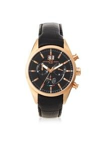Officina Del Tempo OT1037/130NGN Elegance Black Leather Chronograph Watch  #lether #elegant #watch #officina