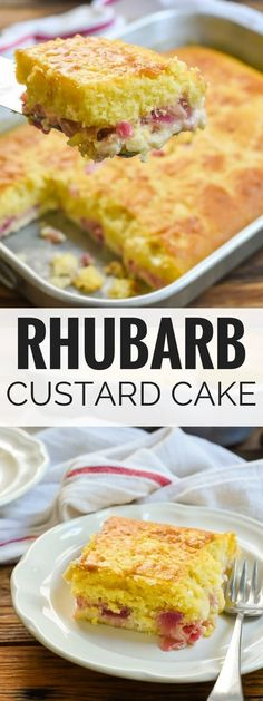 This Rhubarb Custard Cake with a fluffy cake layer and a creamy rhubarb custard . This Rhubarb Custard Cake with a fluffy cake layer and a creamy rhubarb custard layer is the perfect spring dessert. And did I mention how incredibly EASY it is to make? Rhubarb Pudding Cake, Rhubarb Dump Cakes, Rhubarb And Custard, Rhubarb Custard Cake Recipe, Cooking Rhubarb, Rhubarb Rhubarb, Spring Desserts, Fun Desserts, Delicious Desserts