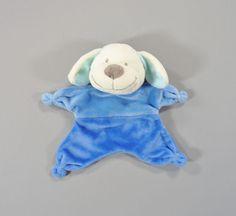 Doudou plat Chien bleu écru Nicotoy 17 cm