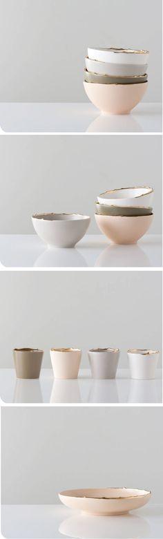 gold rimmed ceramics - so pretty and I love the colors.