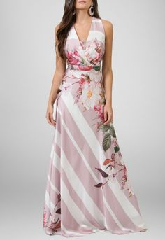 Vestido longo de seda estampa flora Powerlook - powerlook-V-MOB
