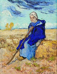Art of the Day: Van Gogh, The Shepherdess (after Millet), November Oil on canvas, 53 x cm. Tel Aviv Museum of Art, Israel. Rembrandt, Vincent Van Gogh, Van Gogh Art, Art Van, Dutch Artists, Famous Artists, Claude Monet, Henri De Toulouse-lautrec, Van Gogh Pinturas