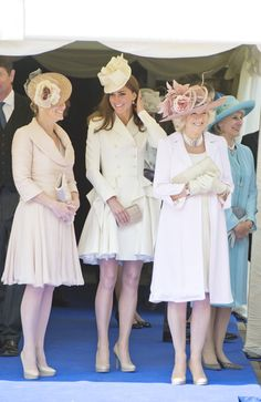 Kate, Sophie and Camilla - all so elegant in soft blush colours.