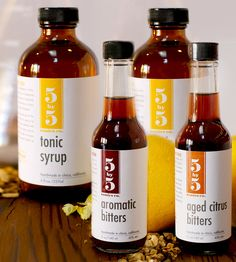Cocktail Gift Sampler by Five By Five Tonics on Scoutmob Shoppe. Stock a special someone's bar cabinet with this gift sampler of tonic syrups, Aromatic Bitters, and Aged Citrus Bitters.