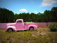 Sweet! Pink Farm Truck. ~ Want one!