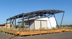 Exterior of West Virginia University and University of Roma Tor Vergata at the U.S. Department of Energy Solar Decathlon 2015 at the Orange County Great Park, Irvine, California  (Credit: Thomas Kelsey/U.S. Department of Energy Solar Decathlon)