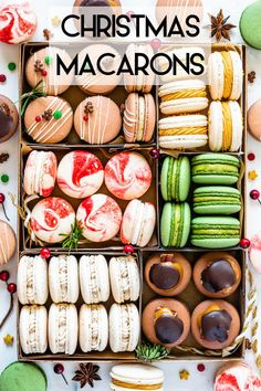 Christmas Macarons cookie boxYou can find Eggnog and more on our . Holiday Baking, Christmas Desserts, Christmas Treats, Christmas Baking, Christmas Cookie Boxes, Italian Christmas, Xmas Food, Christmas Eve, French Macaroon Recipes