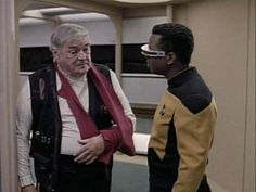 """Star Trek The Next Generation Season 6 episode """"Relics,"""" featuring Jimmy Doohan as Scotty with Geordi."""