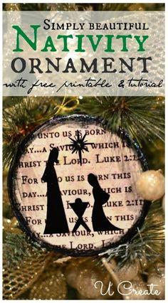 Nativity Ornament with free printable and tutorial. (u-createcrafts.com)