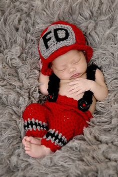 Newborn fire fighter knit outfit perfect for your next photo shoot