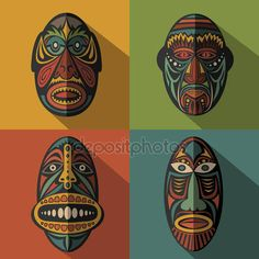 Set of African Ethnic Tribal masks on colour background — Stock Vector © keltmd #90267760