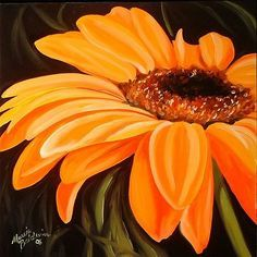 Image result for acrylic flowers on black canvas