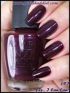 eggplant nail color | opi yes i can can is a shimmery eggplant type