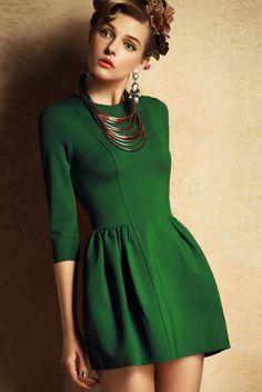 Green Three Quarter Length Sleeve Flare Dress
