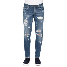 Dolce & Gabbana Five-Pocket Distressed Denim Jeans (5,775 EGP) ❤ liked on Polyvore featuring men's fashion, men's clothing, men's jeans, blue, mens slim jeans, mens blue jeans, mens slim fit jeans, mens button fly jeans and mens destroyed jeans