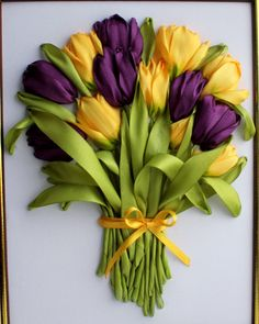 Purple and yellow tulips #ribbonEmbroidery