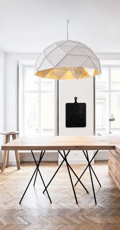 = kitchen servery table and metal and white pendant