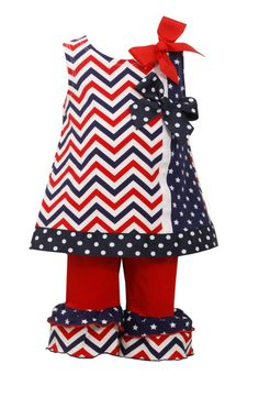 9042d5f4ad Ella Blu Store - Bonnie Jean 4th July Flag Red Bow Chevron Patriotic Dress  Set Outfit