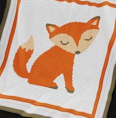 Crochet Pattern   Baby Blanket / Afghan - Fox