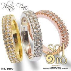 Aros de boda en plata con baño de oro 14k. Juego de 3 RD$2,800