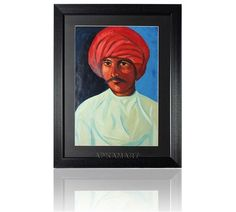 An original painting that has been made using oil colours. It's the portrait of a man who is dressed in traditional Rajasthani attire .Its an original painting that is exclusively available on Apkamart. Amount INR-5000