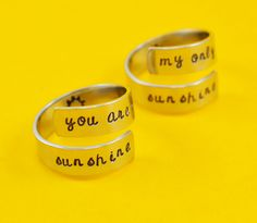 You Are My Sunshine - My Only Sunshine - Mother Daughter Ring Set