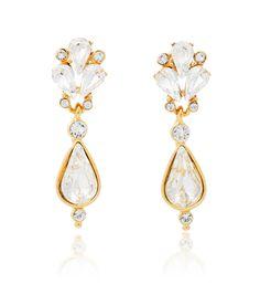 Ben-Amun Bridal Small Crystal Fan Teardrop Earrings   Thomas Laine