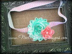 Mint & Coral Flower Headband - girl, toddler, babies, photography, photo, prop, newborn, hair, bows, peach, pink, mint green, green, chevron. $9.95, via Etsy.
