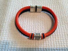 Team/School Spirit Double Leather Bracelet - Orange & Blue - Denver Broncos, Auburn Tigers, Florida Gators, UTSA Roadrunners