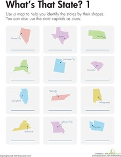 Third Grade Geography Worksheets: States and Capitals Practice: What's That State? 1