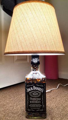 Jack Daniels DIY lamp I made for my boyfriends 21st birthday! So neat :-)