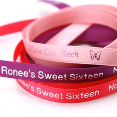 Add colors, personalize favors or gifts using these inch Continuous Sweet Sixteen Personalized Ribbon. Favors and Flowers offers a wide selection of ribbon colors and design motifs. Call us at for more Sweet Sixteen favors. Sweet 16 Birthday, 16th Birthday, Personalized Ribbon, Ribbon Design, Motif Design, Ribbon Colors, Sweet Sixteen, Gifts, Party Ideas