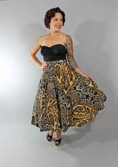 1950s Vintage Skirt...Fall Fashion Black White Yellow 50s Rockabilly Flannel Full Circle Skirt xs. $68.00, via Etsy.
