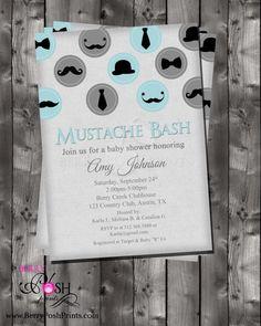 mustache baby shower | Mustache Baby Shower Invitation on Etsy, $12.00 | Boy Themed Baby Sho ...