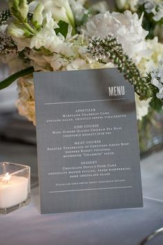 Only 1 menu, very modern print, like! Wedding Menu as centerpiece.love the overall look, I want to use this throughout all my printed items.simple and elegant Wedding Menu Cards, Wedding Stationary, Wedding Paper, Wedding Table, Fall Wedding, Our Wedding, Dream Wedding, Wedding Invitations, Invites