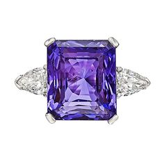 13.53 Carat Purple Sapphire Diamond Platinum Ring | From a unique collection of vintage three-stone rings at https://www.1stdibs.com/jewelry/rings/three-stone-rings/