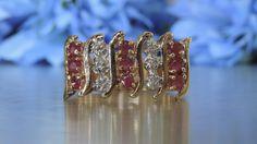 TIARA HALF ETERNITY DIAMOND AND RUBY RING – Transcend Fine Jewellery