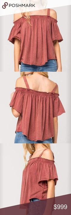 COMING SOON❗️NWT Free People Off the Shoulder Top NWT.  Free People cold shoulder top with an elasticized smock neckline.  Draped short sleeves.  All around gathering.  Finished raw edge hem.  Cotton/Polyester blend.  Washed red color. Free People Tops