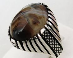 Handmade Authentic Natural Yemeni Agate Stone 925 Sterling Silver Men's Ring E41