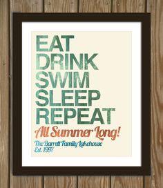 Custom lake house print Eat drink swim sleep di Arcadiagraphic, $17.00