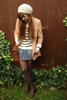 Beanie, blazer, stripes, denim skirt, satchel, oxfords.