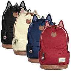 girls backpacks with cats | Girl Cute Canvas Cat Ear Backpack School Bag Women Travel Backpack