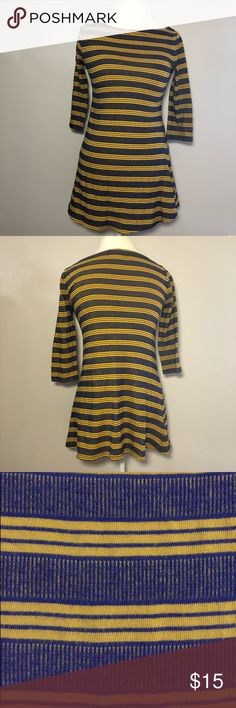 """Urban Outfitters BDG Boat Neck Striped Flare Tunic Royal blue and yellow striped boat neck tunic. From Urban Outfitters BDG. Cotton blend with a little bit of stretch. Size M fits true. Measurements are approximate: 17"""" across chest. 30"""" Shoulder to hem length. 16"""" sleeve length. Urban Outfitters Tops Tunics"""