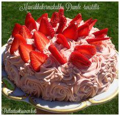 Pullantuoksuinen koti: Mansikkakermakakku Dumle -twistillä. Strawberry cream cake with toffee -twist.